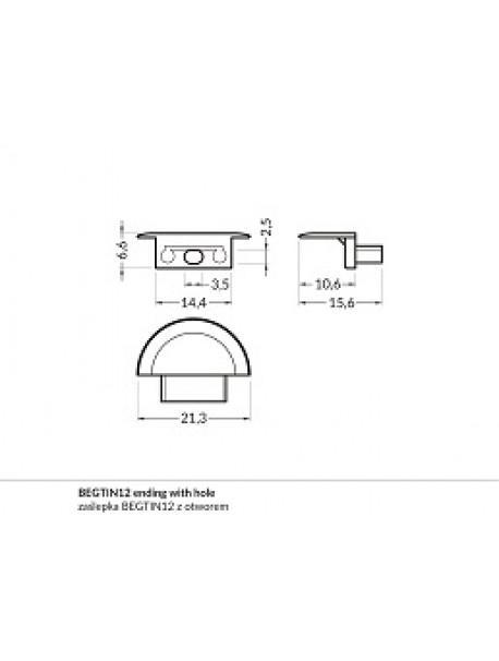 BEGTIN12 Chiusura con foro anodizzata (2 Pz)
